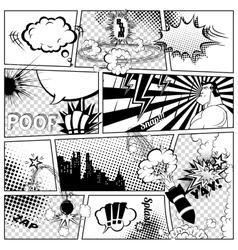 Comics Template Retro Comic Book Speech vector