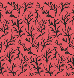 contrast red drawn ink branches pattern vector image