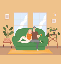 Couple sitting on couch at home in living vector