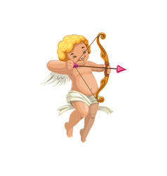 Cupid with bow and arrow isolated angel vector