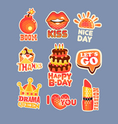 Cute cartoon set of stickers with short positive vector
