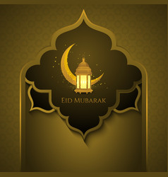 Eid mubarak golden background with arc gate vector