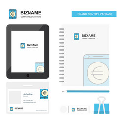 Euro business logo tab app diary pvc employee vector