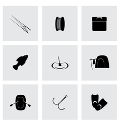 fishing icon set vector image