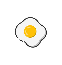 fried egg icon color outline icon vector image