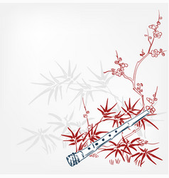 fue flute bamboo japanese sketch engraved chinese vector image