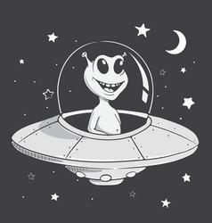 funny alien flies in space vector image