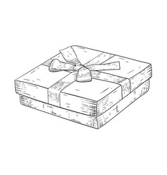Gift box with ribbon bow jewelry box hand drawn vector
