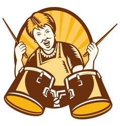 Grandmother plays drums vector