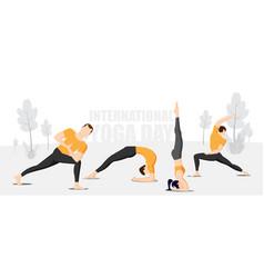 Group practicing yoga on international yoga day vector