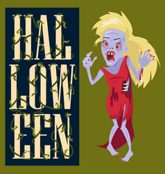 Halloween creepy poster on vector