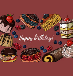 happy birthday hand drawn colored banner vector image