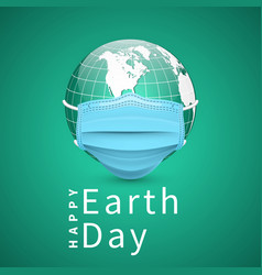 happy earth day earth globe in medical face mask vector image
