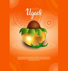 Happy ugadi and gudi padwa hindu new year greeting vector