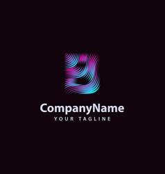 letter b modern wave line logo design template vector image