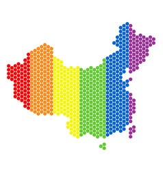 lgbt spectrum dotted china map vector image