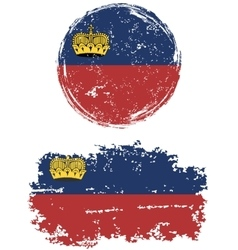 Liechtenstein round and square grunge flags vector image