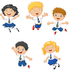 little kids smiling and jumping togethe vector image