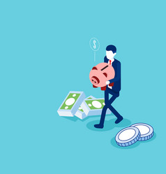 man holding piggy bank with money flat isometric vector image