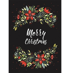Merry Christmas Flowers vector image