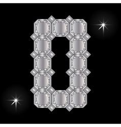Metal letter O Gemstone Geometric shapes vector image