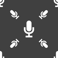 microphone icon sign Seamless pattern on a gray vector image
