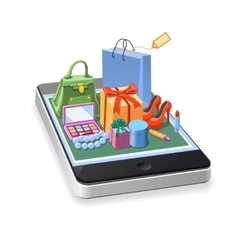 Mobile online shopping of woman accessories vector image