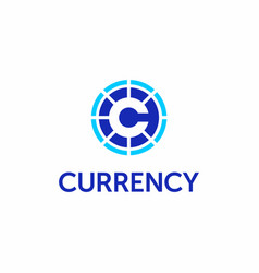 Modern professional logo currency in blue vector