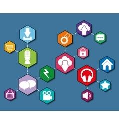 Multimedia icon set Hexagon shape graphic vector