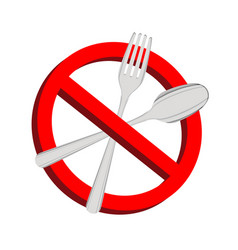 no food prohibition sign fork and spoon inside vector image