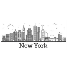 Outline new york usa city skyline with modern vector