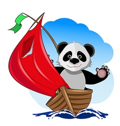 Panda in the boat vector