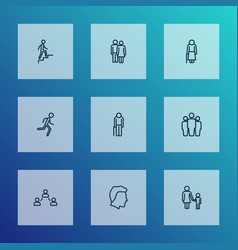 people icons line style set with jogging lover vector image