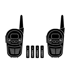 Portable radio set Black silhouette vector image