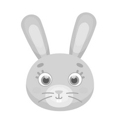 Rabbit muzzle icon in monochrome style isolated on vector