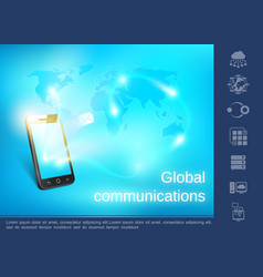realistic global communication concept vector image
