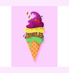 retro vintage logotype of ice cream vector image