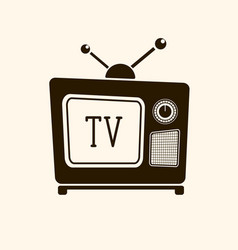 retro vintage tv on light background vector image