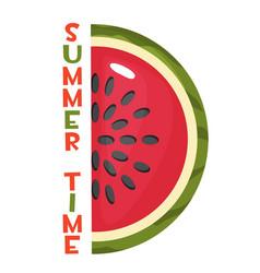 ripe slice watermelon and inscription vector image