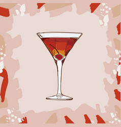 Rob roy cocktail with cherry garnish alcoholic vector