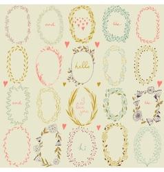 romantic set of circle floral borders vector image