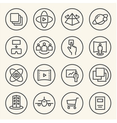 rounded line icons for virtual reality innovation vector image