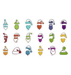 santa hat beard icon set color outline style vector image
