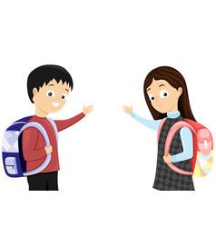 Schoolchildren with school bags vector