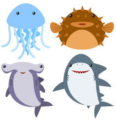 Sea animals on white background vector