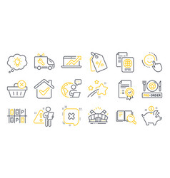 Set business icons such as pre-order food vector