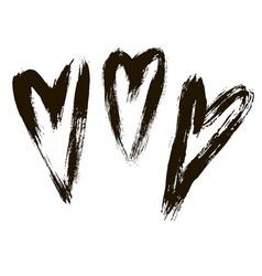set hearts ink hand drawn vector image