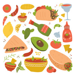 set mexican food traditional menu icon vector image