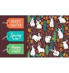 set of Easter tags and seamless pattern vector image