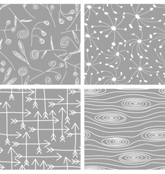 set seamless patterns backgrounds vector image
